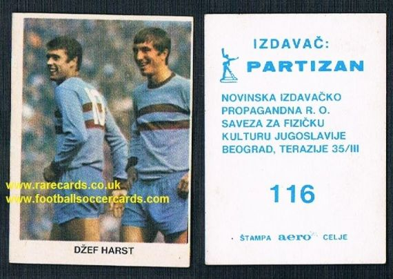 Geoff Hurst and West Ham United Yugoslavian card 116